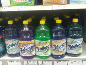 Fabuloso multipurpose cleaner: brightly colored, fruity smelling, and packaged in bottles that look like soda or sports drinks