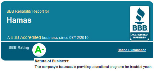Picture of the Better Business Bureau A- rating for Hamas, a known terrorist organization